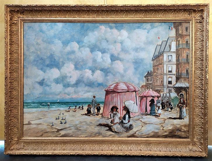 """Grande dipinto olio su tela """"Spiaggia"""" firmato - XX sec."""