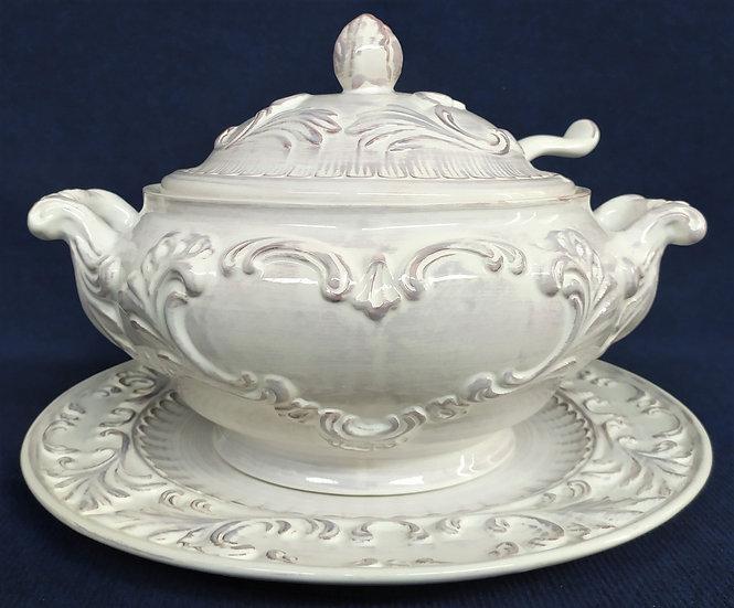 Grande zuppiera + piatto in ceramica smaltata - Bassano - Ø cm 40