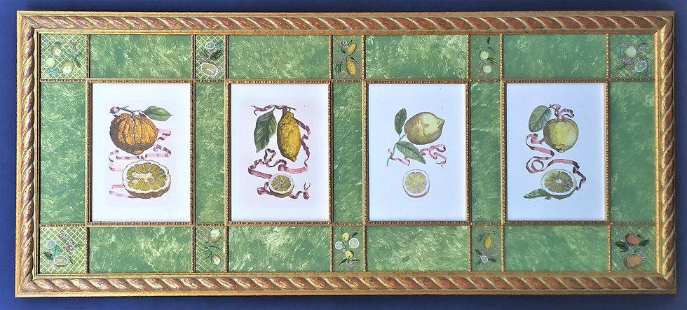 """Enorme pannello decorativo con stampe """"Agrumi"""" - Italia XX/XXI sec."""