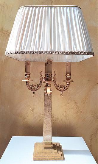 """Lampada da tavolo in marmo giallo e ottone dorato """"L'Originale"""""""