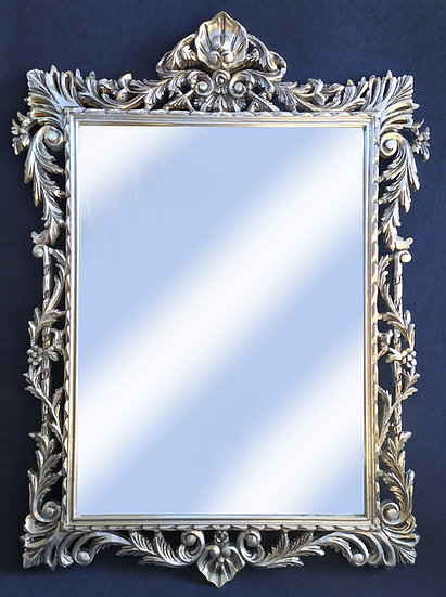 Specchiera rettangolare in legno foglia argento - Italia 2° metà XX sec.