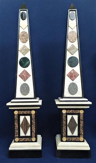 Coppia di grandi obelischi in marmo - cm 188 h - Francia XX sec.
