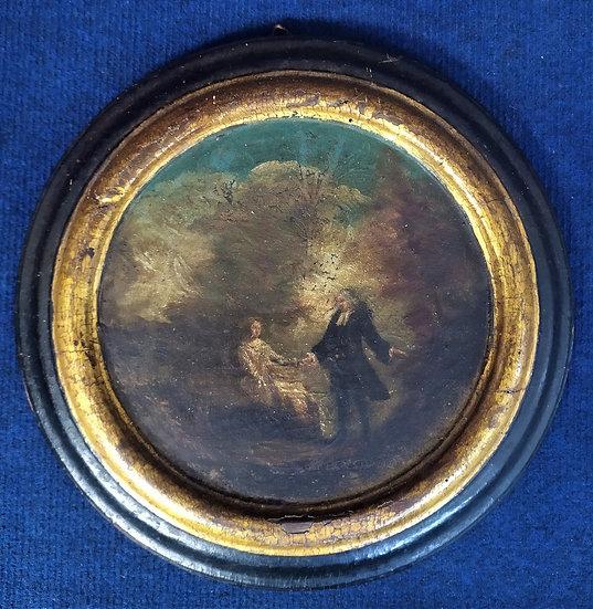 "Medaglione tondo olio su tavola ""Scena Galante"" - Francia XVIII sec."