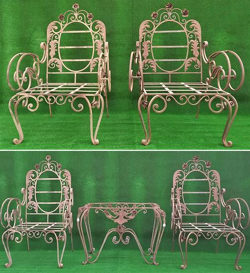 Salotto in ferro battuto - 4 poltrone + 1 tavolino