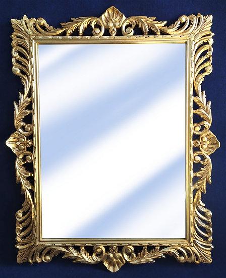 Specchiera rettangolare in legno foglia oro - Italia 2° metà XX sec.