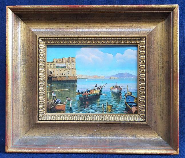 "M. Vanetti - ""Palazzo Donn'Anna"" - olio su tavola - Napoli XX sec."