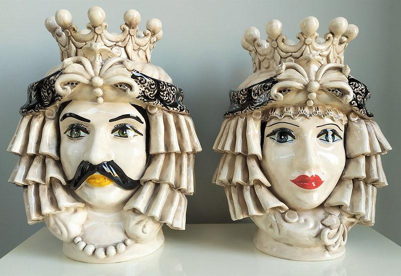 Coppia Teste di Moro con corona cm 30 h - ceramica di Caltagirone