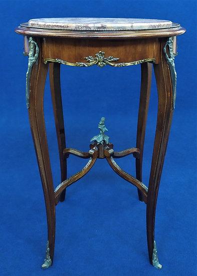 Tavolino in legno e bronzo con top in marmo - Italia XX sec.