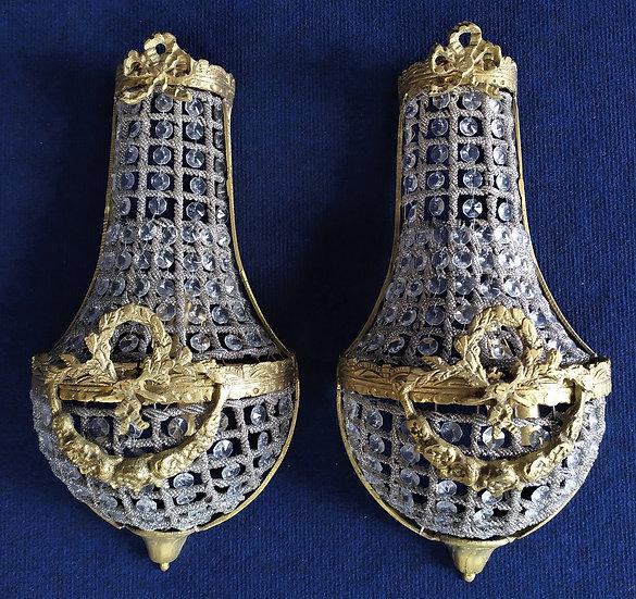 Coppia di appliques stile Impero in vetro e bronzo dorato