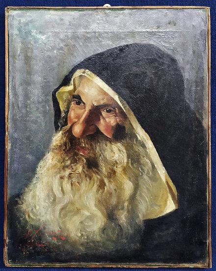 """Dipinto olio su tela """"Frate Domenicano"""" - Italia XIX sec."""