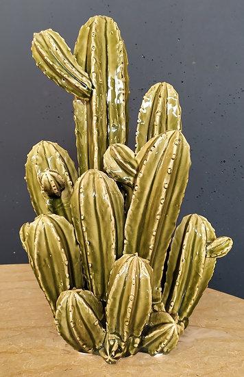 Grande Cactus in ceramica smaltata verde cm 48 H