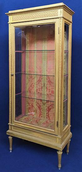 Grande vetrina stile Luigi XVI in legno dorato - Italia inizio XX sec.
