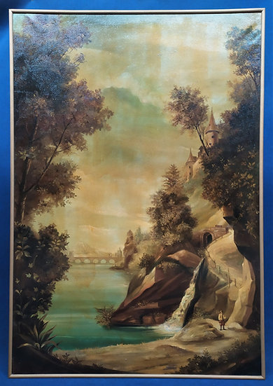 """Grande dipinto olio su tela """"Paesaggio"""" Italia meta' XX sec."""