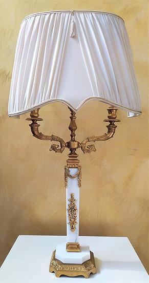 """Lampada da tavolo in marmo bianco e ottone dorato """"L'Originale"""""""