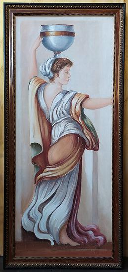 "Grande dipinto affresco su tela ""Vestale Pompeiana"" - XX sec."