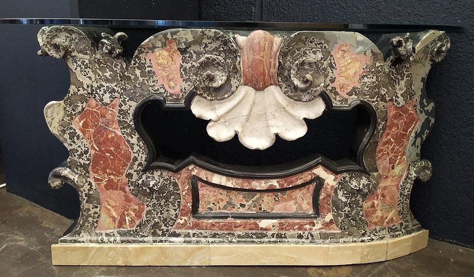 Console balaustra Rococò in marmo XVIII sec.