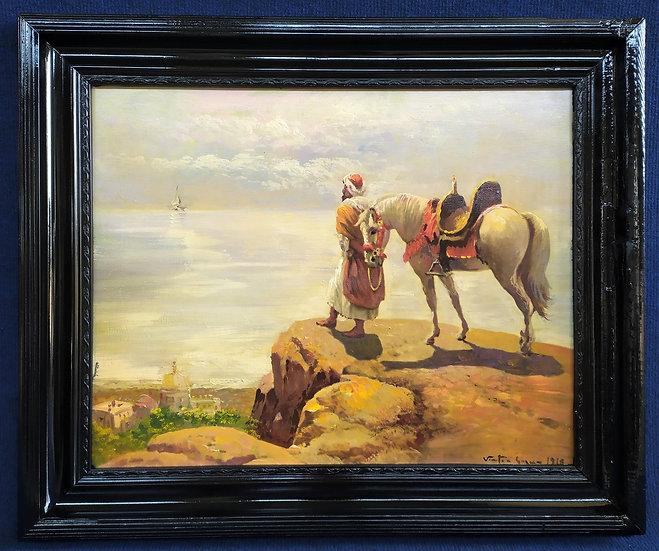 """Dipinto ad olio """"Moro con cavallo"""" - firmato e d.to 1918"""