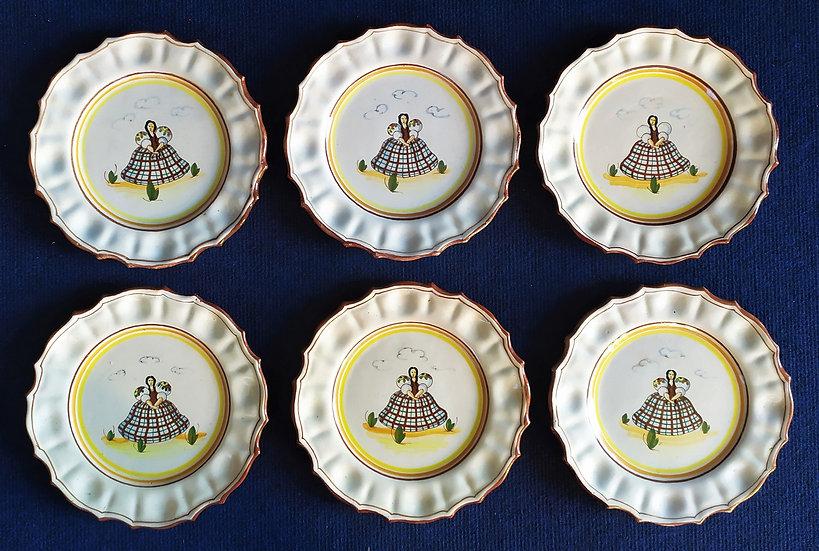6 piatti in terraglia smaltata e decorata a mano - Italia 1° metà XX sec.