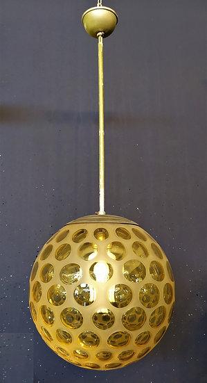 Lampadario Art Deco globo in vetro giallo - Italia anni '40
