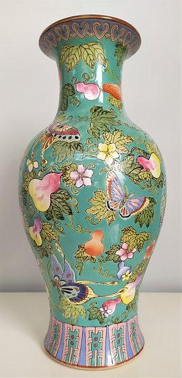 """Vaso in porcellana turchese """"Famille Rose"""" - h 37 cm - Cina XIX sec."""