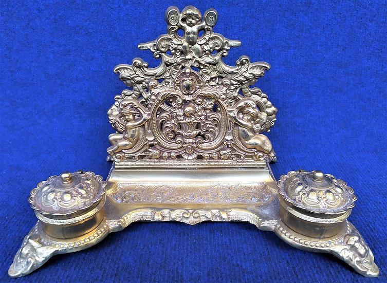 Calamaio stile barocco in metallo dorato - Italia XX sec.