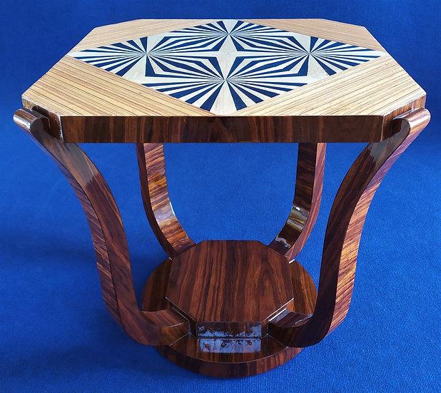 Tavolino quadrato stile Art Deco in radica con motivo optical