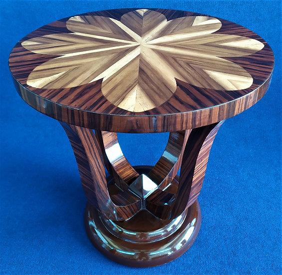 Tavolino tondo stile Art Deco in radiche con motivo a fiore