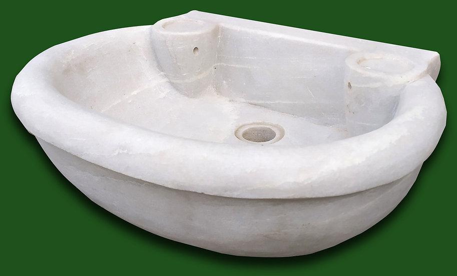 Lavabo semicircolare in marmo bianco scolpito - cm 51
