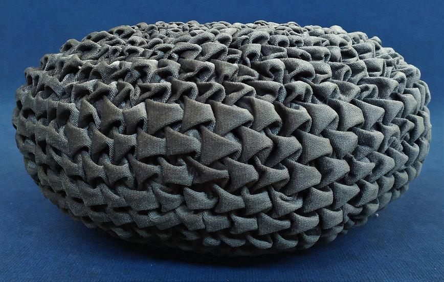 Cuscino/Pouf plissettato in velluto nero - Ø cm 60