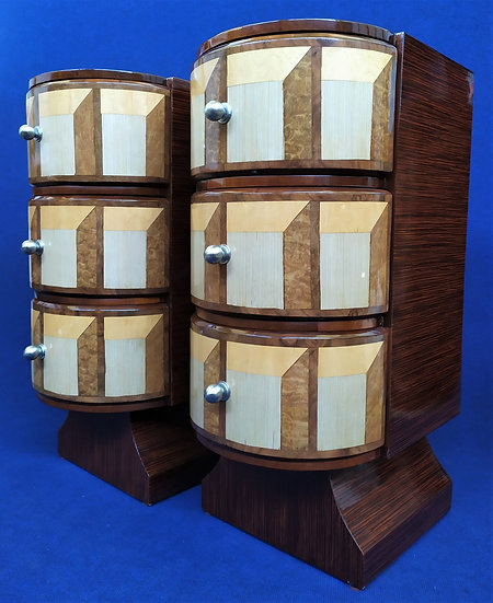 Coppia comodini 3 cassetti - stile Art Deco in radica geometrica