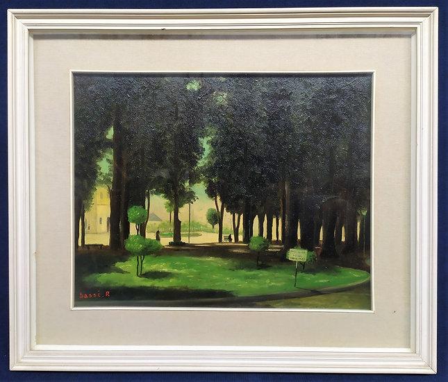 "Dipinto olio su tela ""Giardini cittadini"" -R. Sassi- XX sec."