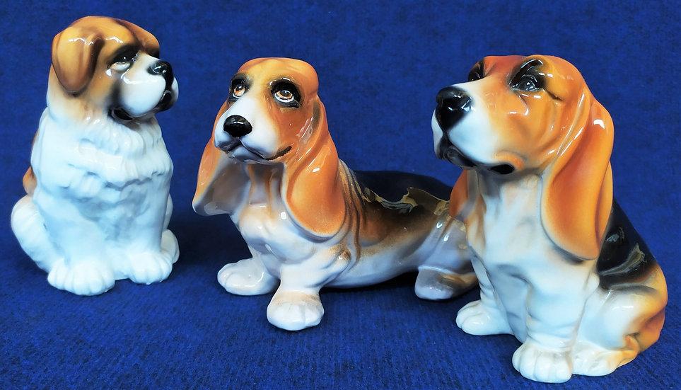 3 cani in ceramica policroma - Italia anni '60