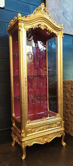 Grande vetrina in legno dorato XX sec.