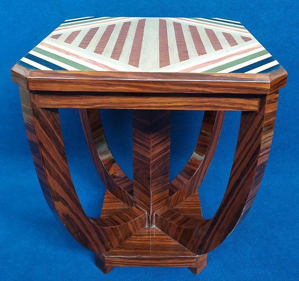 Tavolino quadrato stile Art Deco in radica - geometrie policrome