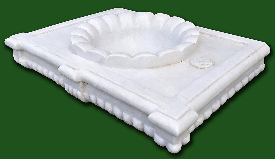 Grande lavabo rettangolare in marmo bianco costolato - cm 80