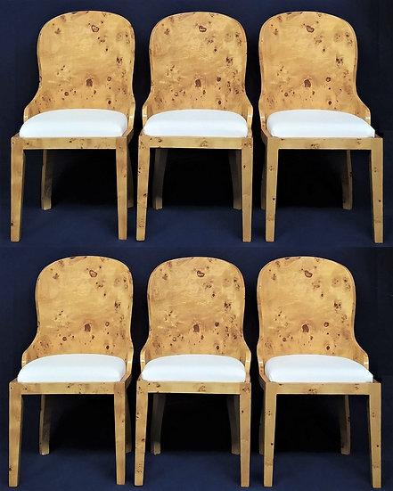 6 sedie stile Art Deco in radica di ulivo