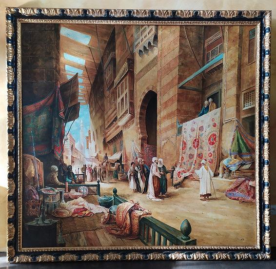 """Enorme dipinto olio su tela """"Scena Orientalista"""" - XX sec."""