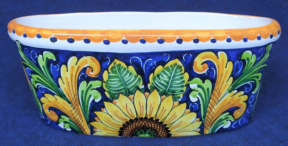 Fioriera ovale con girasoli cm 32 - ceramica di Caltagirone