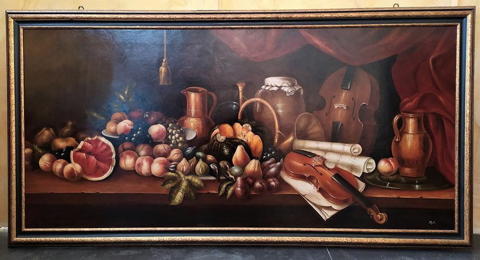 "Grande dipinto olio su tela ""Natura Morta"" - Italia, XX sec."