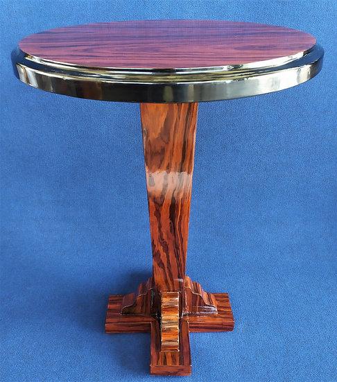 Tavolino tondo stile Art Deco in radica di mogano