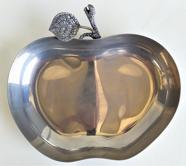 Vassoio vintage a mela in ottone silver plated - Italia anni '50