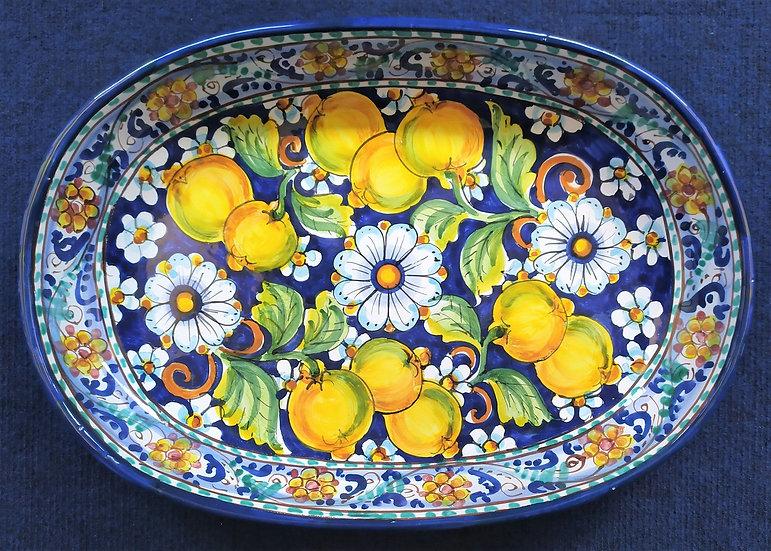 Vassoio ovale con limoni cm 37 - ceramica di Caltagirone