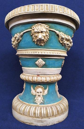 Grande vaso in terracotta policroma - fornaci Chiocciola Altoviti XIX XX sec.