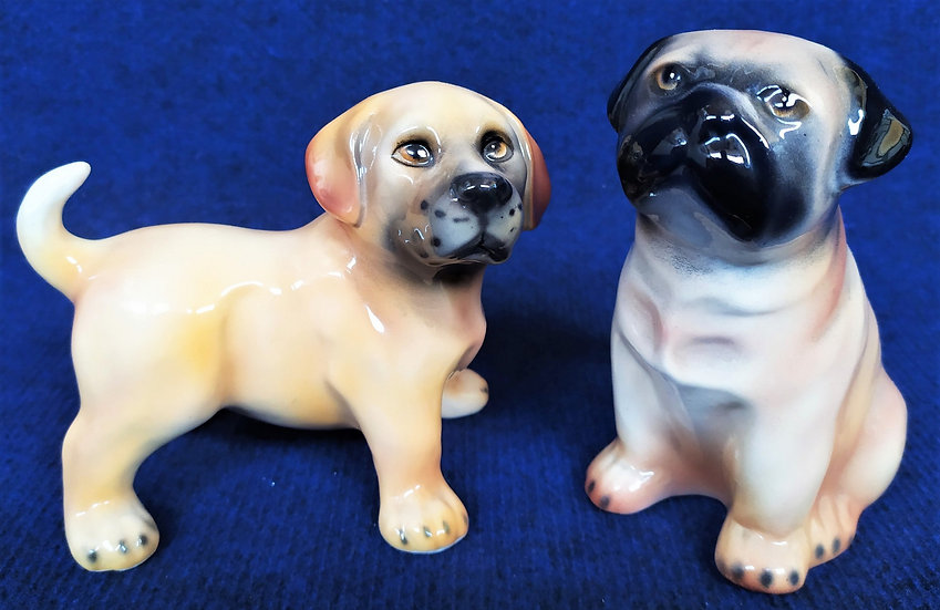 Coppia di cuccioli in ceramica di Bassano - anni '60