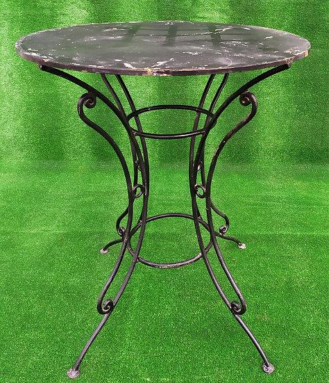 Tavolino nero in ferro battuto - top in ferro