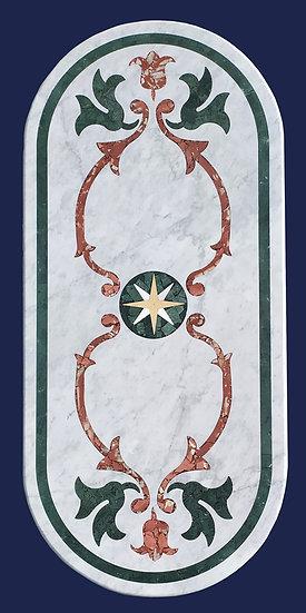 Top in marmo bianco intarsiato cm 100x220 - spess. 30mm
