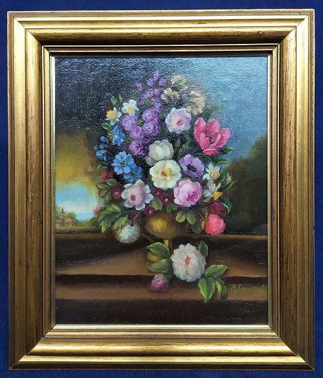 """Dipinto olio su tavola """"Vaso di fiori"""" - M. Caporali - metà XX sec. (A)"""