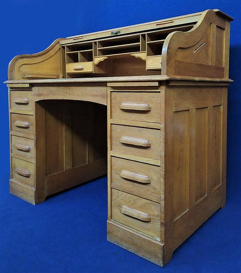 """Scrivania a rullo in quercia """"Feige-Desk Co."""" - U.S.A. 1910/1920"""