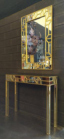 Console vintage con specchiera in legno dorato e specchi