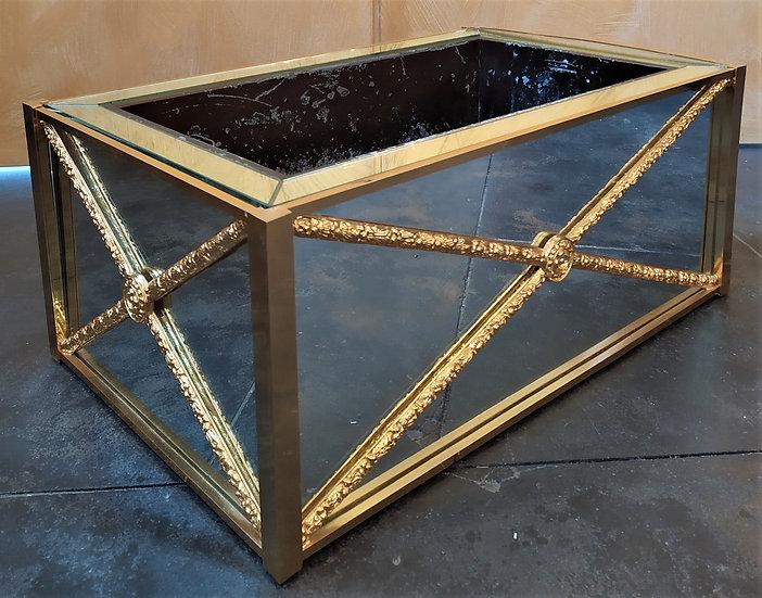 Fioriera a specchio e ottone dorato cm 62 - XX secolo